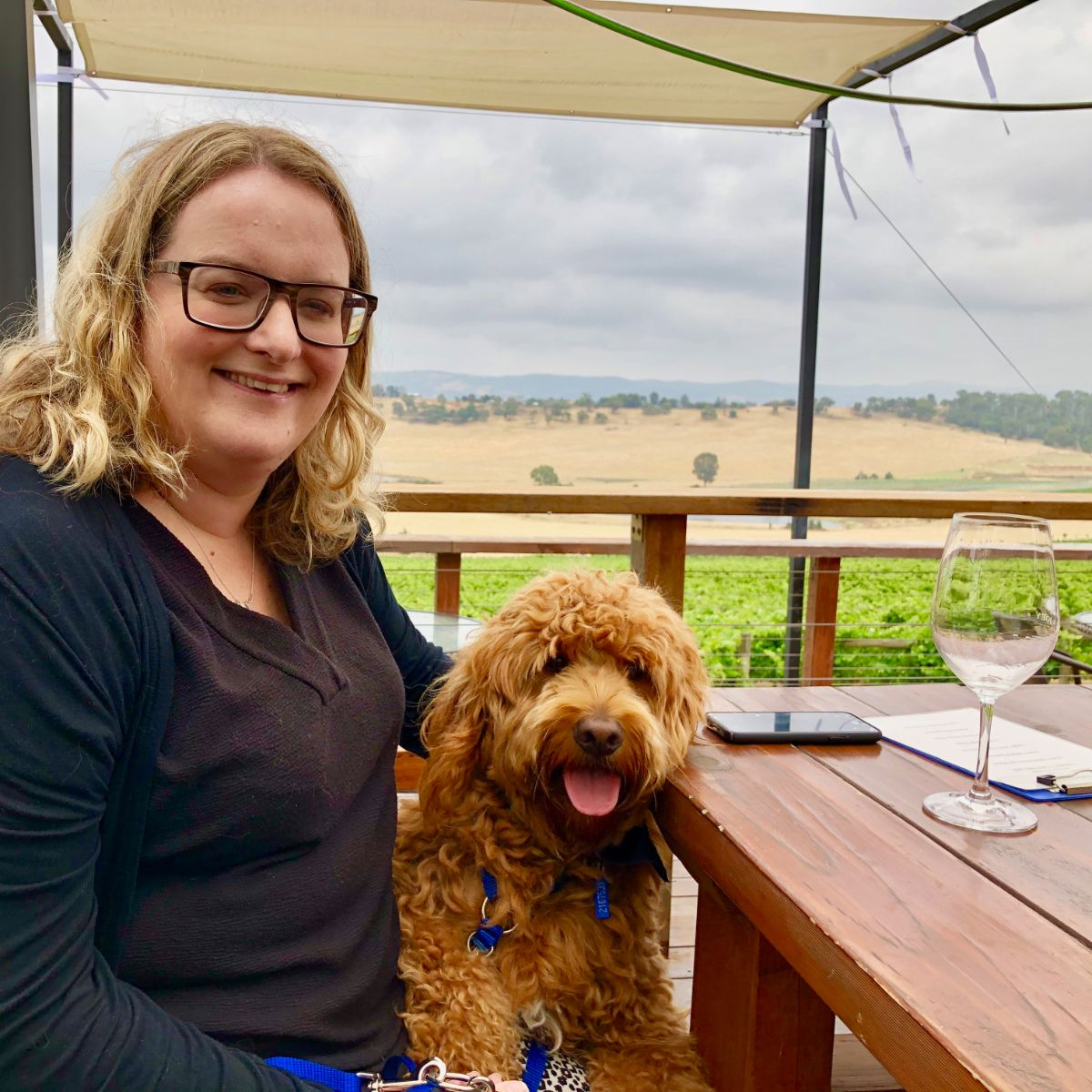 Fergus on his Pooches and Pinot wine tour