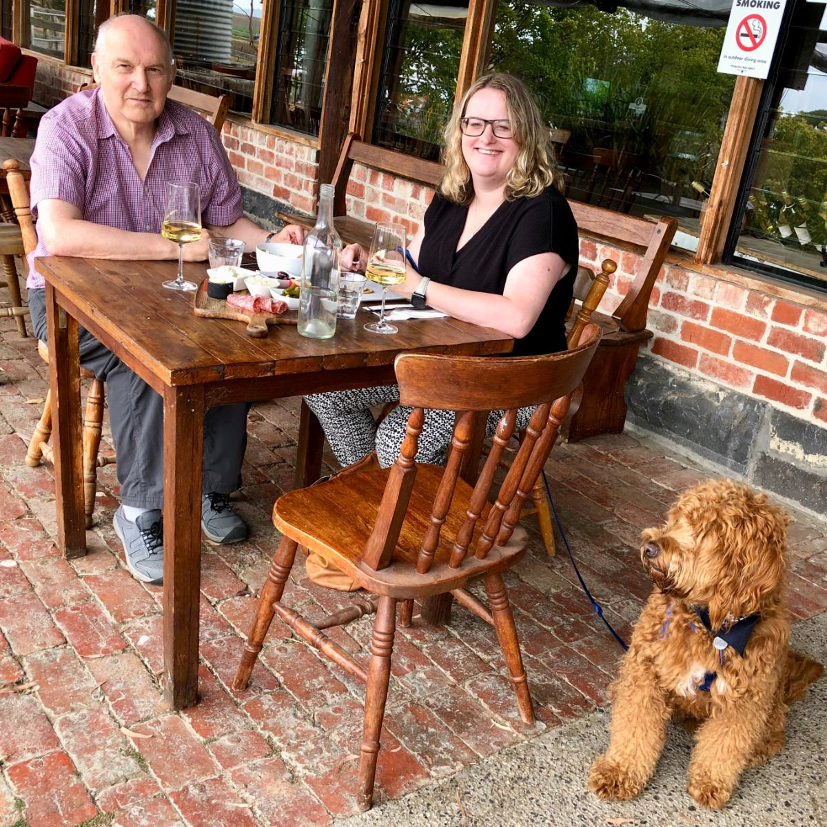 lunching at yering farm on a pooches and pinot tour