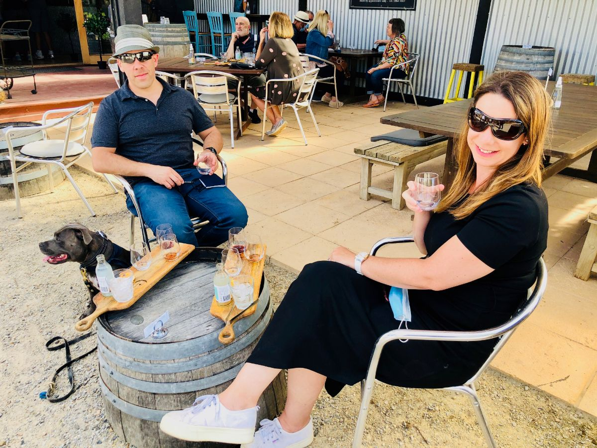 gin tasting as part of your pooches and pinot wine tour with your dog