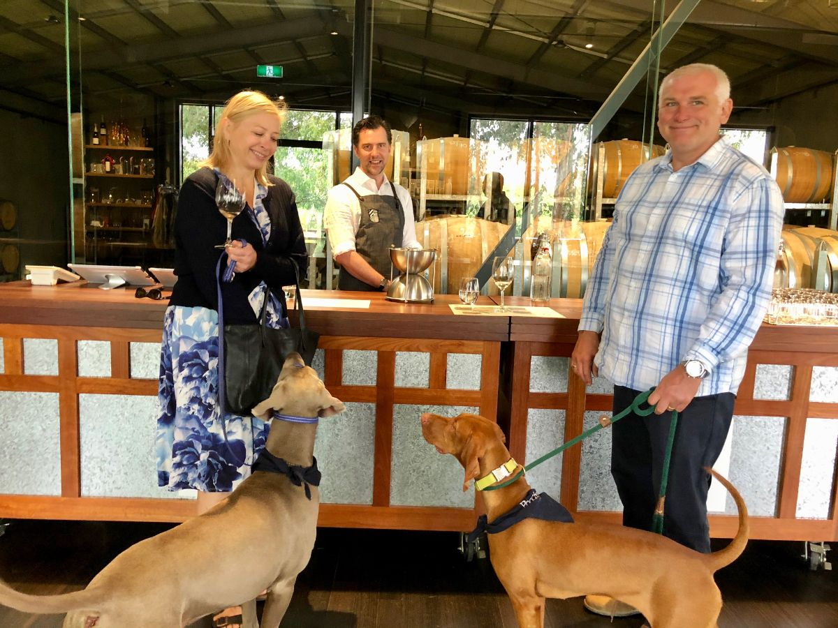 wine tasting on a Yarra Valley pooches and pinot wine tour