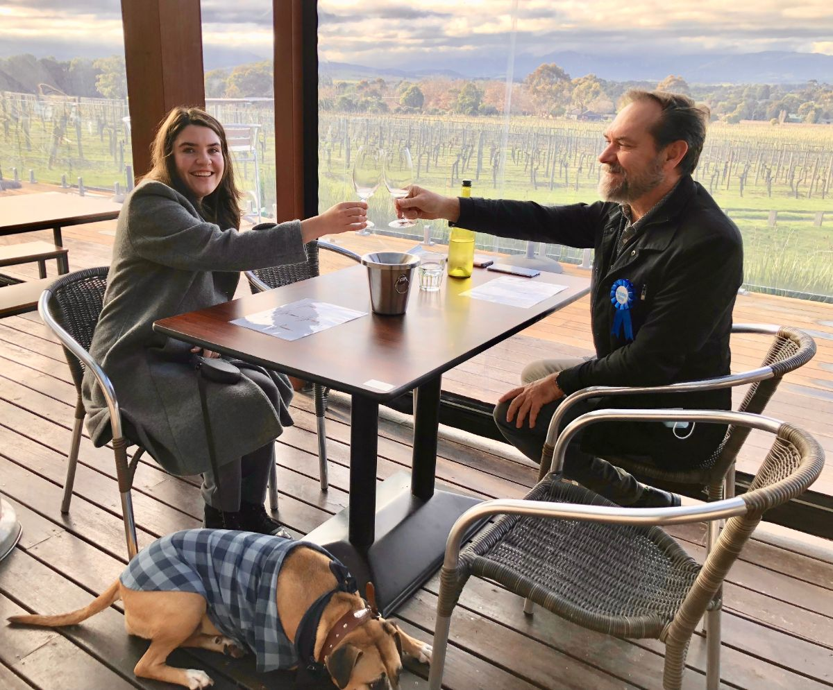 staffie on dog friendly wine tour with Pooches & Pinot